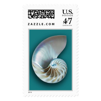 Nautilus shell vertical teal postage