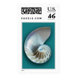 Nautilus shell vertical teal stamps