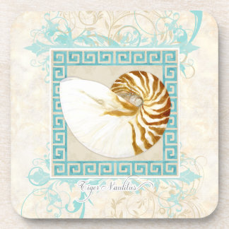 Nautilus Shell Watercolor Greek Key Damask Beach Beverage Coaster