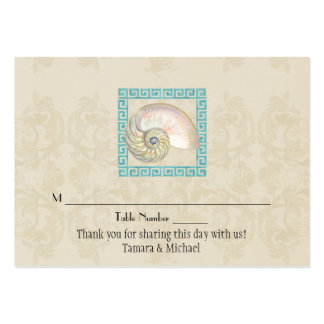 Nautilus Shell Watercolor Greek Key Damask Beach Business Cards