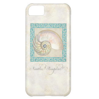 Nautilus Shell Watercolor Greek Key Damask Beach Case For iPhone 5C