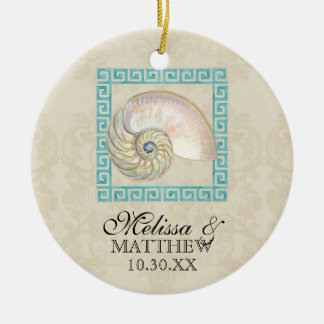 Nautilus Shell Watercolor Greek Key Damask Beach Ceramic Ornament
