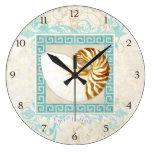 Nautilus Shell Watercolor Greek Key Damask Beach Wall Clocks