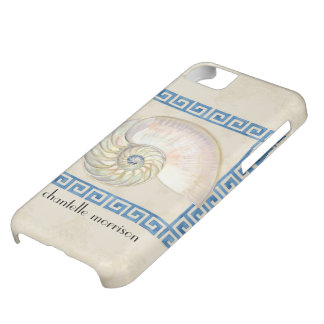 Nautilus Shell Watercolor Greek Key Damask Beach Cover For iPhone 5C