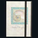 """Nautilus Shell Watercolor Greek Key Damask Beach iPad Air Case<br><div class=""""desc"""">COLOR PALETTE: aqua ocean turquoise blue, sand tan and cream DESIGN COLLECTION: Matching phone and electronics protective cases that coordinate with the complete Wedding Invitation Set that provides any item you might need for your wedding celebration. This design is created from original watercolor illustration artwork by Audrey Jeanne Roberts. A...</div>"""