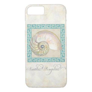 Beach Themed Nautilus Shell Watercolor Greek Key Damask Beach iPhone 7 Case