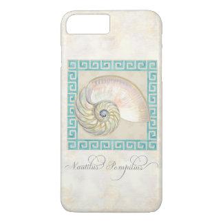 Nautilus Shell Watercolor Greek Key Damask Beach iPhone 7 Plus Case