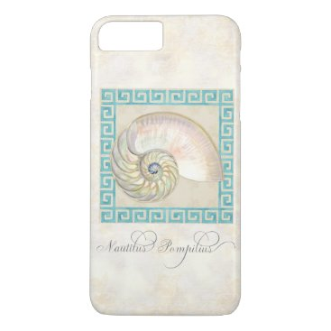 Beach Themed Nautilus Shell Watercolor Greek Key Damask Beach iPhone 7 Plus Case