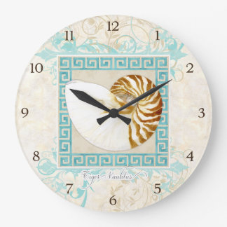 Nautilus Shell Watercolor Greek Key Damask Beach Large Clock