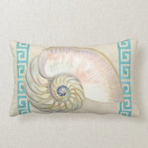 Nautilus Shell Watercolor Greek Key Damask Beach Lumbar Pillow