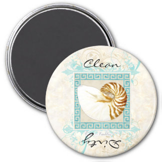 Nautilus Shell Watercolor Greek Key Damask Beach Magnet