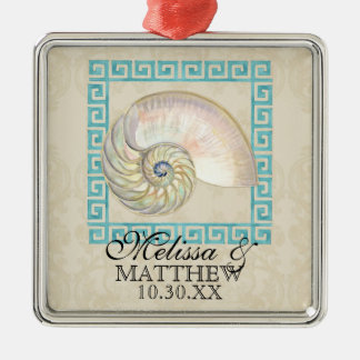 Nautilus Shell Watercolor Greek Key Damask Beach Metal Ornament