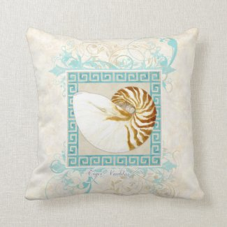 Nautilus Shell Watercolor Greek Key Damask Beach Pillows