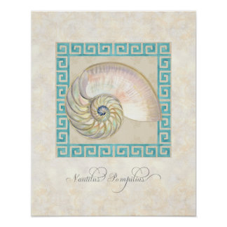 Nautilus Shell Watercolor Greek Key Damask Beach Poster