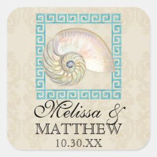 Nautilus Shell Watercolor Greek Key Damask Beach Square Sticker