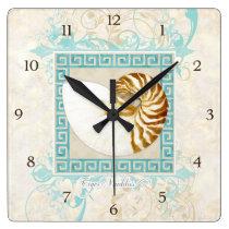 Nautilus Shell Watercolor Greek Key Damask Beach Square Wall Clock