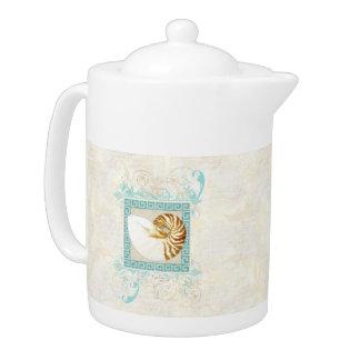 Nautilus Shell Watercolor Greek Key Damask Beach Teapot