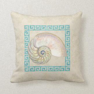 Nautilus Shell Watercolor Greek Key Damask Beach Throw Pillow