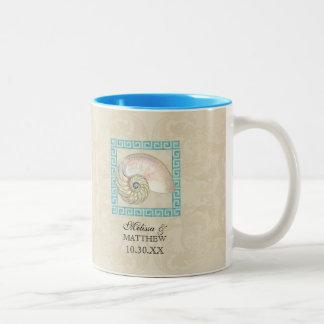 Nautilus Shell Watercolor Greek Key Damask Beach Two-Tone Coffee Mug