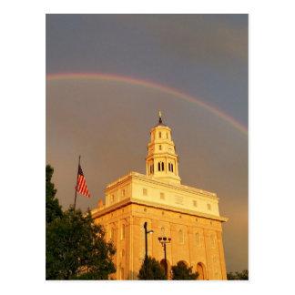 Nauvoo Illinois Temple Embraced By a Rainbow Postcard