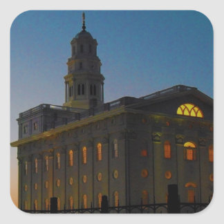 Nauvoo Temple at Sunset Square Stickers
