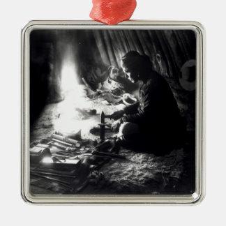 Navaho silversmith, c.1915 square metal christmas ornament