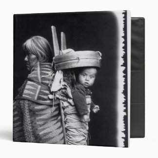 Navaho woman carrying a papoose on her back 3 ring binder