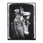 Navaho woman carrying a papoose on her back canvas print