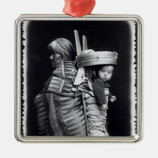 Navaho woman carrying a papoose on her back square metal christmas ornament