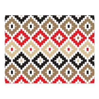 Navajo Aztec Tribal Print Ikat Diamond Pattern Postcard
