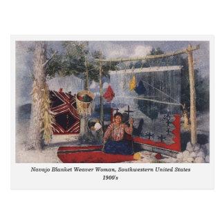 Navajo Blanket Weaver Woman old postcard