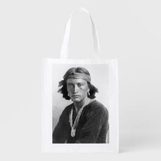 Navajo Boy - Historic Photo by Karl E. Moon Grocery Bags