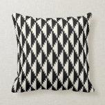 Navajo Diamond Tribal Pattern Black and Cream Throw Pillow