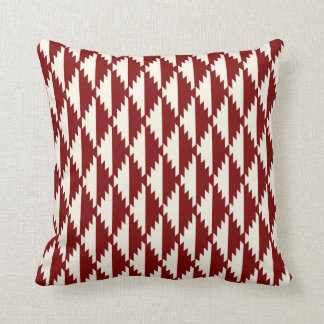 Navajo Diamond Tribal Pattern Red and Cream Pillow