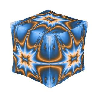 Navajo Fractal Star Cube Pouf