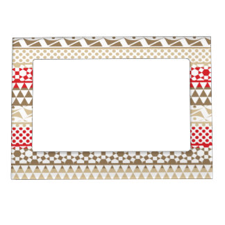 Navajo Geometric Aztec Andes Tribal Print Pattern Photo Frame Magnets