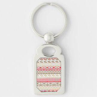 Navajo Geometric Aztec Andes Tribal Print Pattern Silver-Colored Rectangular Metal Keychain
