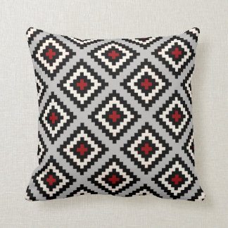 Navajo Geometric in Grey Black Red Throw Pillow