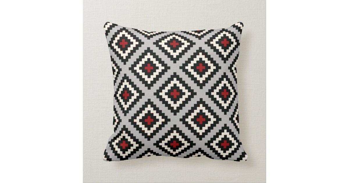 Navajo Geometric in Grey Black Red Throw Pillow | Zazzle
