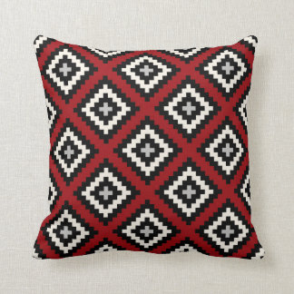 Navajo Geometric in Red Black Grey Throw Pillow