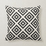 "Navajo Geometric Pattern Black and Cream Throw Pillow<br><div class=""desc"">Navajo Geometric Pattern in Black and Cream</div>"