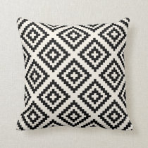 Navajo Geometric Pattern Black and Cream Throw Pillow