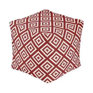 Navajo Geometric Pattern in Brick Red and White Cube Pouf