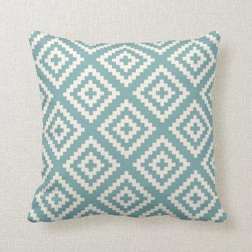 AnyTownArt Navajo Geometric Pattern Sea Glass Blue Throw Pillow