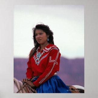 Navajo Girl on Horseback Poster