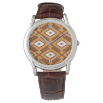 Navajo Ikat Pattern - Brown, Rust and Cream Wristwatch