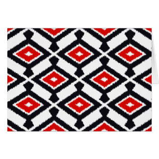 Navajo Ikat Pattern - Dark Red, Black and White Card