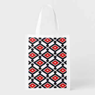 Navajo Ikat Pattern - Dark Red, Black and White Grocery Bag