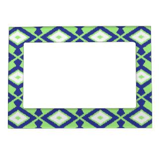 Navajo Ikat Pattern - Green, Indigo Blue and White Magnetic Photo Frame