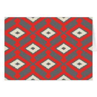 Navajo Ikat Pattern - Red, Grey and Beige Card